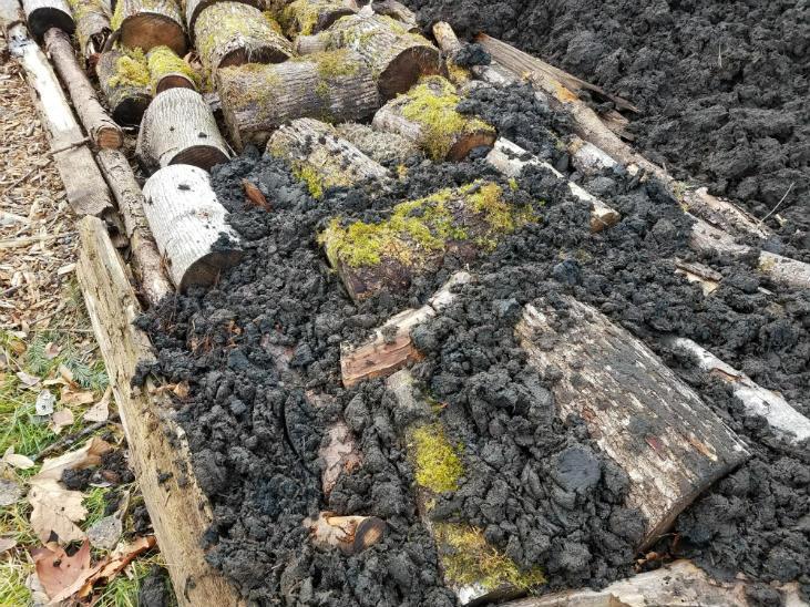 Add soil between the wood when building a hugelkultur bed