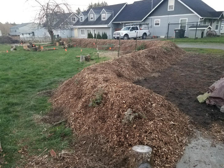 When you build a hugelkultur bed top it off with mulch